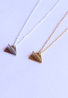 Celebrity inspired paper plane necklace gold or silver charm