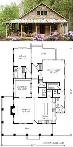 Modern Farmhouse cabin floor plan and elevation