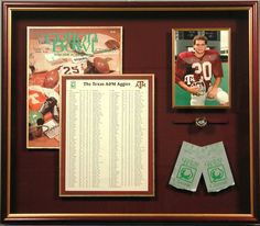Bradley's custom framed shadowbox-Texas A & M-Aggie Cotton Bowl. The more details you add to your shadowbox the more the memory is preserved and tells a story to the viewer (ex. ticket stubs, photographs, brochures, medals, etc.)