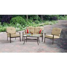 Walmart - 2 sets, matching patio furniture - $278 -Mainstays Brookwood Landing 4-Piece Patio Conversation Set, Tan, Seats 4