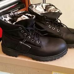 Timberland boots Brand new authentic black leather Timberland roll top boots with white/black army camouflage lining. Timberland Shoes
