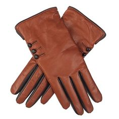 Lundorf Noemi Women's Soft Leather Gloves Wool Lined - Leather Buttons - 8 - Brown >>> For more information, visit image link.