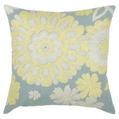 """Invite fresh spring flair into your home with this eye-catching pillow, adding a pop of style to your sofa, settee, or master bed.   Product: PillowConstruction Material: Cotton slubColor: Gray, blue and yellowFeatures:  Embroidered detailsHidden zipperInsert included Dimensions: 18"""" x 18""""Cleaning and Care: Spot clean onlyShipping: This item ships small parcelExpected Arrival Date: Between 04/13/2013 and 04/21/2013Return Policy: This item is final sale and cannot be returned"""