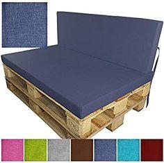 Coussins pour palette europe Outdoor de proheim en rouge - À choissir coussin d'assise ou de dossier pour sofa en palette pour extérieur et intérieur, résistant à la lumière, à la sueur et à la saleté, Couleur:Bleu foncé, Variable:Coussin de dossier