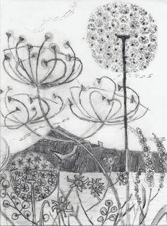 ANGIE LEWIN Amazing Flowers Photos, Angie Lewin, Lino Prints, Art Prints, Artist Sketchbook, Print Artist, Botanical Prints, Flower Designs, Printmaking