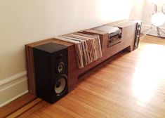 The Folded Record Bureau: Turntable, Record Shelf, & Magazine Shelf In One Record Player Console, Record Shelf, Record Cabinet, Vinyl Record Storage, Record Players, Diy Furniture, Furniture Design, Console Furniture, Audio Room
