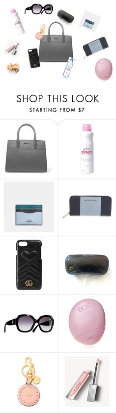 """""""What's in My Purse #1"""" by ms-emilybrown on Polyvore featuring Prada, Evian, Coach, Michael Kors, Gucci, Chanel, Eos, Moschino and Burberry"""