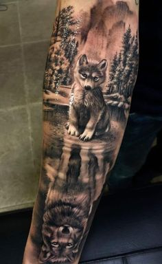 Wolf tattoo Meaning and various Types to get inspired Tattoos . - Wolf Tattoo Meaning and Various Types to Get Inspired Tattoos – diy best tattoo id - Wolf Sleeve, Wolf Tattoo Sleeve, Forearm Sleeve Tattoos, Best Sleeve Tattoos, Tattoo Sleeve Designs, Tattoo Designs Men, Forest Tattoo Sleeve, Ocean Sleeve Tattoos, Half Sleeve Tattoos Drawings