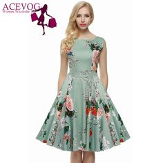 ACEVOG Brand S - 4XL Women Dress Retro Vintage 1950s 60s Rockabilly Floral Swing Summer Dresses Elegant Bow-knot Tunic Vestidos -- Encontrar productos similares haciendo clic en la imagen