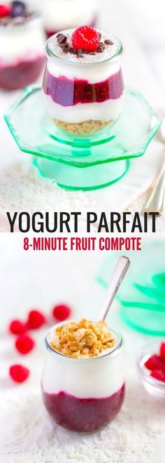 Experience the joy of this delicious YOGURT PARFAIT WITH FRUIT COMPOTE. Add tasty add-ons or garnishes to make this recipe extra special. This delicious recipe isquick and easy to make. It's healthy and nutritious! The bright flavorful taste will make yo