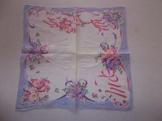 Vintage Ladies Handkerchief Floral Iris Pink Purple 2020 | eBay