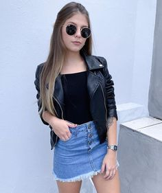 Leather jacket and denim skirt Teen Fashion Outfits, Mode Outfits, Girly Outfits, Cute Casual Outfits, Stylish Outfits, Summer Outfits, Womens Fashion, Moda Fashion, Night Outfits