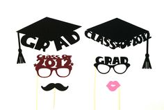 Graduation Party Photo Booth Props Class Of 2012 College Graduation Photobooth Props High School Graduation Celebration 2012 Hipster Set. $19.95, via Etsy.