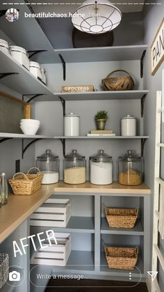 Modern French country house Blue pantry renovation with plenty of storage, wood shelving, and organized glass jars. - Own Kitchen Pantry Kitchen Pantry Design, Kitchen Organization Pantry, Kitchen Decor, Kitchen With Pantry, Ikea Pantry, Kitchen Ideas, Organization Ideas, Pantry Shelves Diy, Pantry Baskets