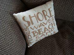 """Cute Nautical Throw Pillow that says """"Shore, Waves, Beach, Sand, Tides, Shells"""""""