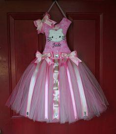 Tutu Bow Holder Hello Kitty Pick your por AddALilCharmBowtique