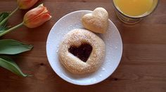 This Valentine's Day, say it with heart-shaped breakfast biscuits with a sweet jam center.
