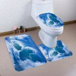Ocean Wave Pattern 3 Pcs Flannel Bath Mat Toilet Mat - Blue