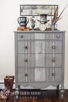"Chic distressed striped dresser by Miss Mustard Seed Milk Paint in ""Trophy."" Gorgeous!"