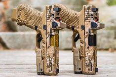 The Twins @uptomyassinbrass #reprif #multicam #multicamarid #camo #cerakote #glock #glock19 #9mm Tactical Pistol, Tactical Shotgun, 9mm Pistol, Tactical Gear, Weapons Guns, Guns And Ammo, Glock Mods, Tactical Accessories, Custom Glock