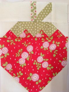 Strawberry block from Strawberry Social by The Pattern Basket! Fresh new pattern for Summertime.