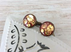 Red Cufflinks. Red Wedding. Bronze Anniversary Gift. 8th Bronze Anniversary Gifts, Wedding Cufflinks, Red Wedding, Trending Outfits, Unique Jewelry, Handmade Gifts, Crafts, Etsy, Kid Craft Gifts