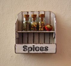 Dollhouse miniature shelf dollhouse rack 3 spice by DewdropMinis Wall Shelves, Shelf, Distressed Walls, Spice Labels, Clotheslines, Glass Candy, Popsicle Sticks, Dollhouse Furniture, Vintage Dolls