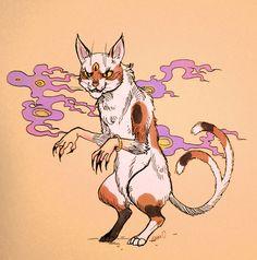 Nekomata/Bakeneko (Japanese) http://en.wikipedia.org/wiki/Nekomata/////The bakeneko is similar to the nekomata but doesn't have two tails.