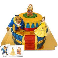 La Belle et la Bête sur gâteau-palais à 2 étages