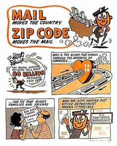 """""""Zippy"""" from """"Mail moves the country. Zip Code moves the mail"""". The US Post Office implemented Zip (Zone Improvement Plan) codes and two-letter state abbreviations in Fun Mail, You've Got Mail, Vintage Advertisements, Vintage Ads, Retro Ads, Vintage Items, Customer Appreciation Day, Rare Comic Books, Going Postal"""
