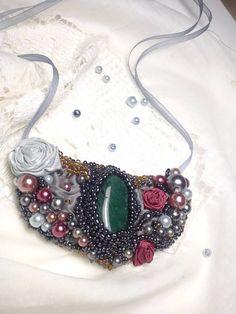 Náhrdelník From Sea, beaded necklace, beads sewing necklace, sea necklace, sewing beads roses necklace, avanturine necklace