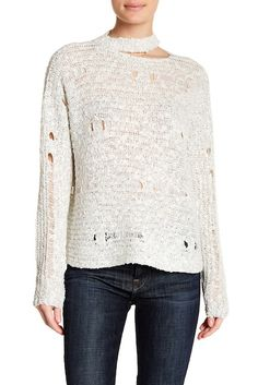 Image of Lush Distressed Long Sleeve Sweater