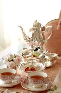 Tea Time Fete... My silver tea service, my beautiful china, boxes of pastries and petits fours from my favorite bakery