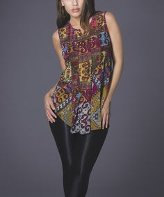 Take+a+look+at+the+Adore+Mustard+&+Purple+Geometric+Sleeveless+Top+on+#zulily+today!