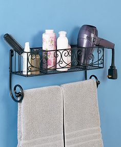 The Bathroom Organizer Shelf lets you keep frequently used items close at hand. Hang a towel on the removable rod at the bottom and use the 3-compartment basket to hold toiletries, bottles of vitamins, hair ties and other small items. Easy-to-hang design
