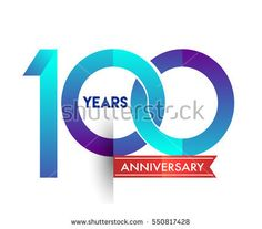 one hundred years anniversary celebration logotype blue colored with red ribbon, 100th birthday logo on white background