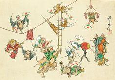 Akabusa Hawa ___ for Animals Meiji 4 - 22 (1871 - 89) Year Coloration Israel · Goldman Collection Israel Goldman Collection, London Photo: Ritsumeikan University Art Research Center Japanese Artwork, Japanese Prints, Japanese Illustration, Illustration Art, Monster Sketch, Japanese Animals, Hokusai, Japan Painting, Japanese Photography