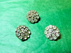 """(3) 1/2"""" CLEAR GLASS RHINESTONE SILVER METAL SHANK BUTTONS VINTAGE LOT (N391)"""
