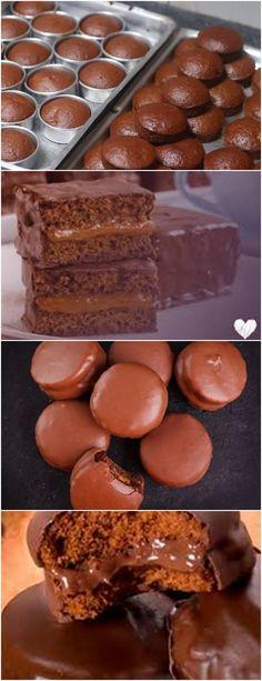 Uma Delicia e saiba Como fazer pão de mel; Veja Aqui >>>Unte as forminhas com margarina e polvilhe com um pouco de farinha de trigo. Em um recipiente, coloque a farinha, o chocolate em pó, o açúcar, a canela eo cravo da índia. #receita#bolo#torta#doce#sobremesa#aniversario#pudim#mousse#pave#Cheesecake#chocolate#confeitaria Sweet Pie, Flan, Macarons, Fudge, Biscuits, Muffin, Food And Drink, Cupcakes, Banana