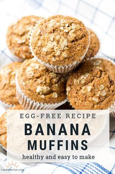 You will never be able to tell these are Egg Free Banana Muffins! This is an eggless muffin recipe that is healthy and delicious. Egg Free Recipes, Muffin Recipes, Baby Food Recipes, Gourmet Recipes, Egg Free Desserts, Healthy Recipes, Cookie Recipes, Mug Cakes, Eggless Banana Muffins