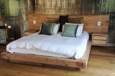 Rustic Oak Floating bed with headboard and side pedestals. Handmade in South Africa by Antwerp Creative Studio