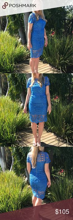 Blue Crochet Sheath Dress Beautiful Crochet detail dress! A Sheath fully lines this gorgeous dress! Zipper back! Perfect for your next event! Shell Polyester 100% Sheath Polyester 100% Sizes: Small Medium Large just me Dresses Mini