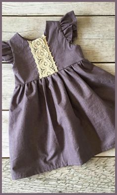 purple linen easter dress with lace detail and flutter sleeves. #toddler #affiliate #easter