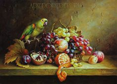 Still life with parrot and fruit http://www.art-portrets.ru/still-life-with-parrot-and-fruit.html
