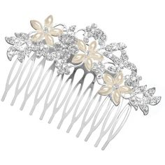 Pearl navette crystal comb ($25) ❤ liked on Polyvore featuring accessories, hair accessories, hair, jewelry, jon richard, crystal hair comb, crystal hair accessories, pearl hair comb and hair comb accessories
