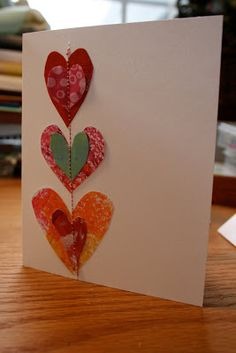 Pink and Green Mama: Stitched Heart Valentine Cards using old artwork cut into heart shapes