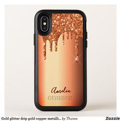 Gold glitter drip gold copper metallic name OtterBox symmetry iPhone XS case Glitter Phone Cases, Copper Metal, Gold Glitter, Metallica, Iphone Case Covers, Protective Cases, Apple Iphone, Tablet Cases, Gift Ideas