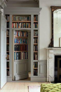Home Library Design, House Design, Garderobe Design, Victorian Terrace House, Victorian Windows, Victorian Door, Edwardian House, Bookcase Door, Bookshelves