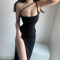 Fashionable sexy low-cut bare shoulders high split temperament slim package hip dress · FE CLOTHING · Online Store Powered by Storenvy Classy Outfits, Sexy Outfits, Girl Outfits, Cute Outfits, Fashion Outfits, Jolie Lingerie, Korean Girl Fashion, Sexy Teens, Beautiful Girl Image