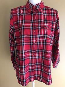 Allison Daley New Sz 12 Red Tartan Plaid Button Up Shirt Top Long Sleeve Holiday   eBay